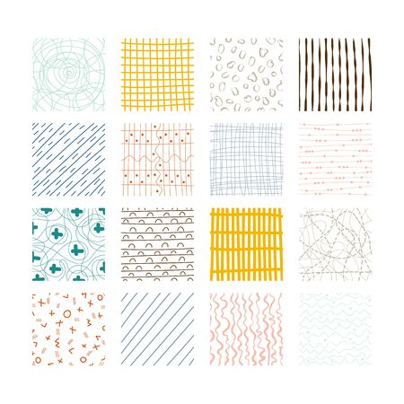 Set of abstract colored squares. Hand drawn backgrounds. Design elements. Simple scratchy textures. Doodle drawings. Modern ethnic ornaments. Pattern. Vector illustration Stock Illustratie
