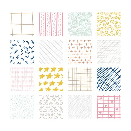 Set of abstract colored squares. Hand drawn backgrounds. Doodle drawings. Simple scratchy textures. Design elements. Modern ethnic ornaments. Pattern. Vector illustration Stock Illustratie