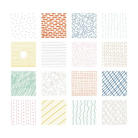 Set of abstract colored squares. Hand drawn backgrounds. Doodle drawings. Simple scratchy textures. Design elements. Pattern. Modern ethnic ornaments. Vector illustration