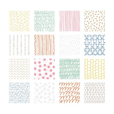 Set of abstract colored squares. Hand drawn backgrounds. Doodle drawings. Simple scratchy textures. Modern ethnic ornaments. Design elements. Pattern. Vector illustration
