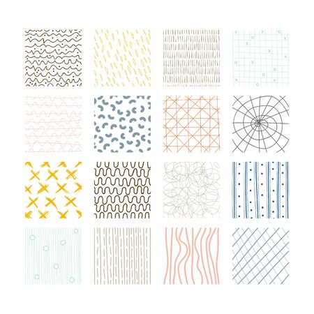 Set of abstract colored squares. Hand drawn backgrounds. Doodle drawings. Simple scratchy textures. Modern ethnic ornaments. Pattern. Design elements. Vector illustration Vettoriali