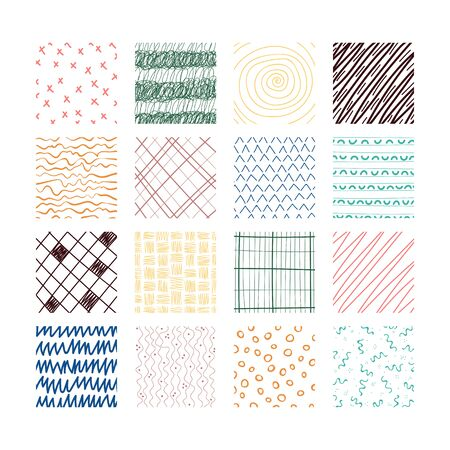 Set of abstract colored squares. Hand drawn backgrounds. Doodle drawings. Simple scratchy textures. Pattern. Design elements. Modern ethnic ornaments. Vector illustration