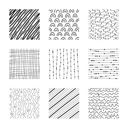 Set of abstract squares. Hand drawn backgrounds. Design elements. Simple scratchy textures. Doodle drawings. Modern ethnic ornaments. Pattern. Vector illustration