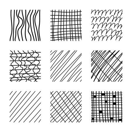Set of abstract squares. Hand drawn backgrounds. Doodle drawings. Simple scratchy textures. Design elements. Modern ethnic ornaments. Pattern. Vector illustration