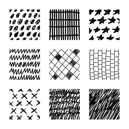Set of abstract squares. Hand drawn backgrounds. Doodle drawings. Simple scratchy textures. Modern ethnic ornaments. Pattern. Design elements. Vector illustration