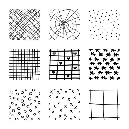 Set of abstract squares. Hand drawn backgrounds. Doodle drawings. Simple scratchy textures. Pattern. Modern ethnic ornaments. Design elements. Vector illustration