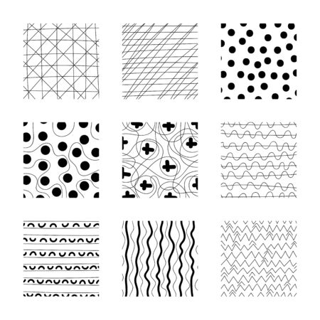 Set of abstract squares. Hand drawn backgrounds. Simple scratchy textures. Design elements. Modern ethnic ornaments. Doodle drawings. Pattern. Vector illustration
