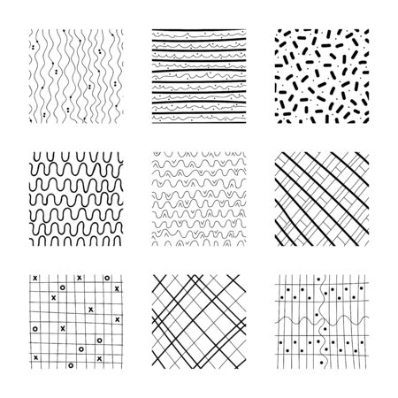 Set of abstract squares. Hand drawn backgrounds. Simple scratchy textures. Design elements. Modern ethnic ornaments. Pattern. Doodle drawings. Vector illustration