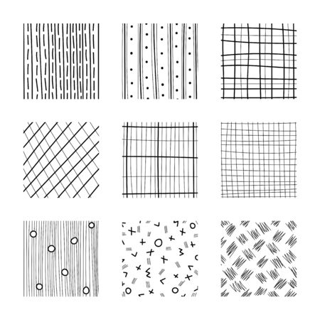 Set of abstract squares. Hand drawn backgrounds. Simple scratchy textures. Doodle drawings. Design elements. Modern ethnic ornaments. Pattern. Vector illustration