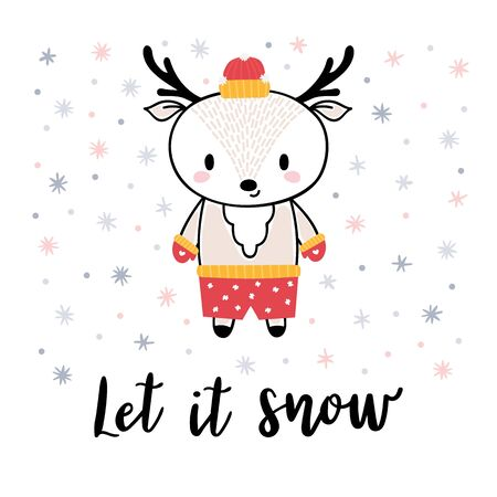 Christmas card with cute little deer. Funny winter animals, cartoon character. Let it snow. Hand drawn lettering. Printable greeting postcard design. Vector illustration