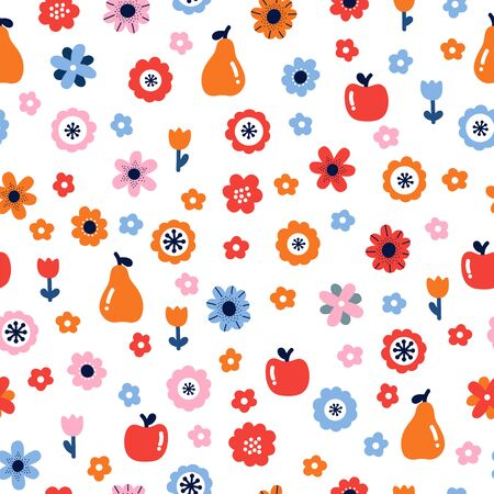 Floral seamless pattern with flowers and fruits. Scandinavian style design. Folk background. Vector illustration