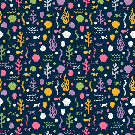 Underwater seamless pattern with hand drawn seaweeds, shells, fishes and corals. Under the sea. Summer. Cute marine background. Vector illustration