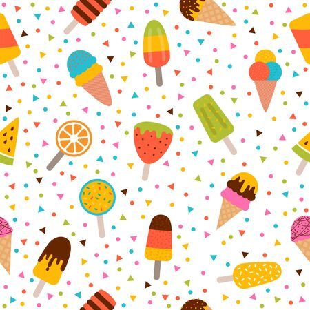 Ice cream seamless pattern. Cute colorful summer background. Delicious cartoon treats. Vector illustration