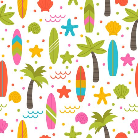 Summer seamless pattern with surfboards, palm trees and shells. Cute ocean background. Perfect for fabric, textile and wrapping paper. Vector illustration