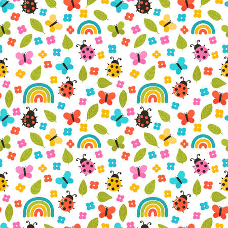 Colorful summer seamless pattern with hand drawn elements. Rainbow, flowers, ladybug. Cute print for fabric, textile, wrapping paper. Vector illustration Ilustracja