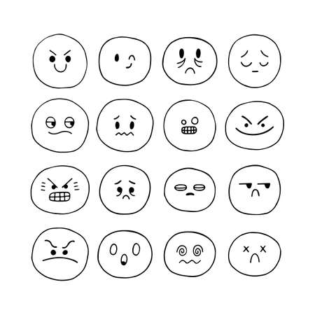 Hand drawn funny smiley faces. Sketched facial expressions set. Emoji icons. Collection of cartoon emotional characters. Kawaii style. Vector illustration Ilustración de vector