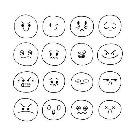 Hand drawn funny smiley faces. Sketched facial expressions set. Emoji icons. Collection of cartoon emotional characters. Kawaii style. Vector illustration Vektoros illusztráció