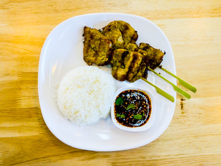 palatable: Pork with rice, fresh aroma with a very palatable. Stock Photo