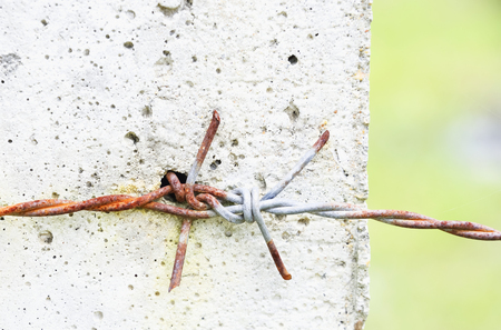 eradication: Barbed wire is used to represent the territory.