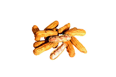 Peanuts were placed on a white background. Stock Photo