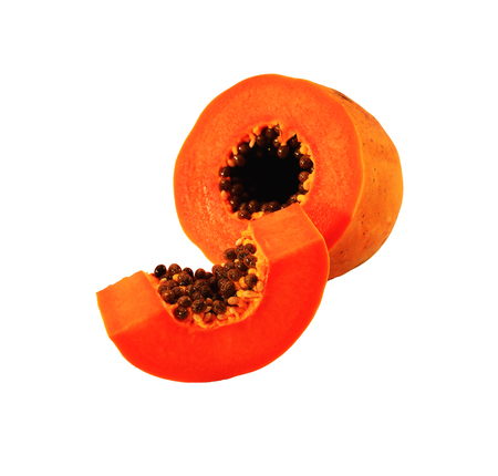cutaneous: Papaya cut into pieces and placed on a white background.