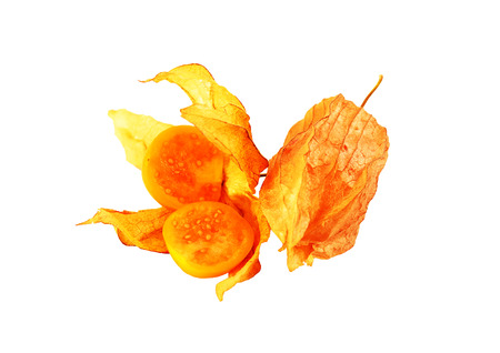 Cape gooseberry is placed on a white background.