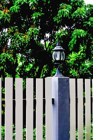 At night there is a need light in the fence, we will install lights on the fence. Stock Photo