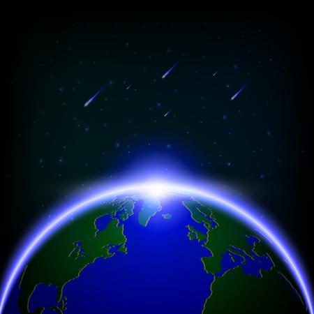 Galaxy global illuminé et illustration de douches de météores.