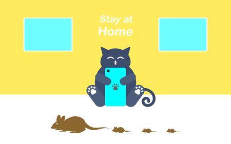 Cat and Rat Stay at Home Cartoon minimal Concept Design, Vector illustration Illustration