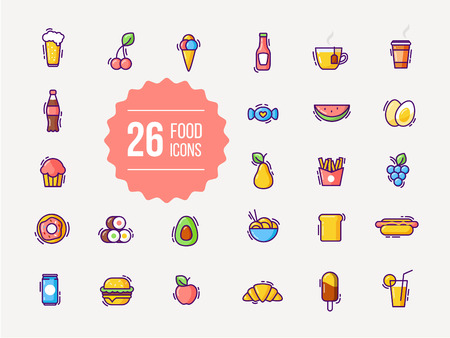 ice tea: Food and drink colorful outline icons Illustration