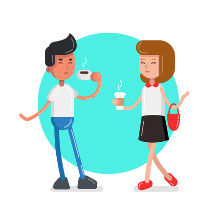 Man and woman with coffee in flat style  イラスト・ベクター素材