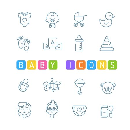 Baby outline icons Illustration
