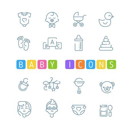 Baby outline icons Ilustracja