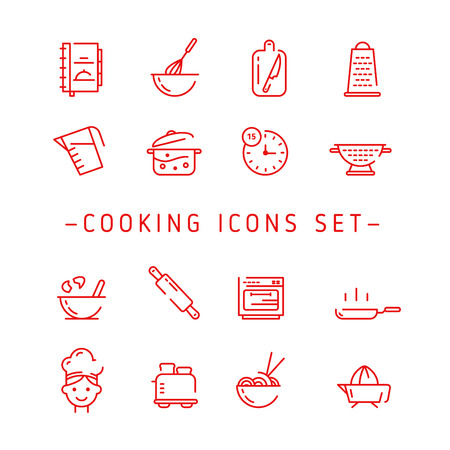 Cooking Icons. Outline Vector Cooking Icon. Cooking Icons Set