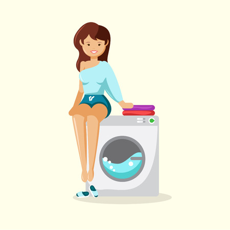 The happy young woman sitting on a washing machine. Vector illustration of a flat design