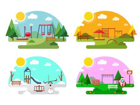 Outdoor playground. Flat style illustration