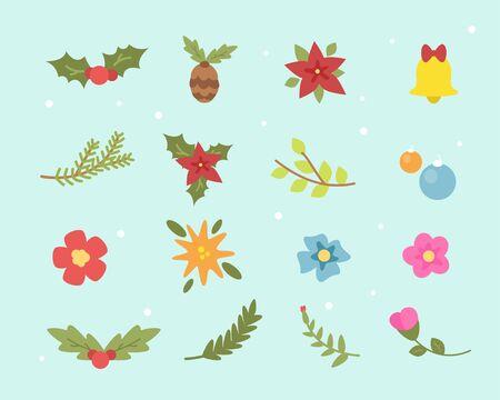 Winter flowers set