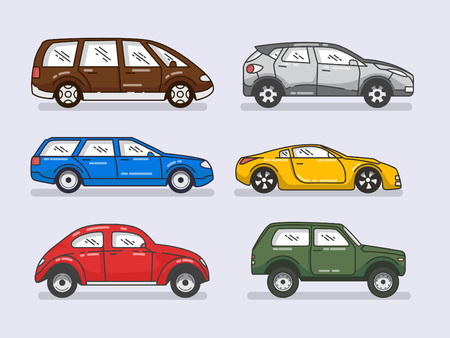 Car icons set in flat style