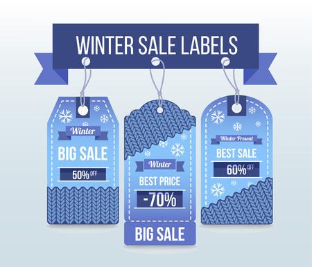 Winter sale labels and badges Illustration
