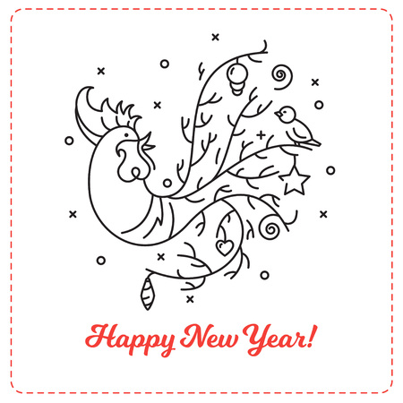 New Year 2017 background. Chinese New Year outline rooster illustration