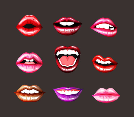 Lips set. Bright lips Illustration