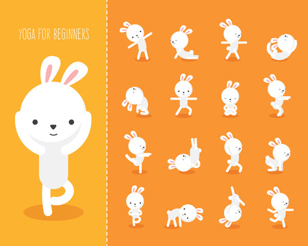 Yoga for kids with rabbit. Funny yoga