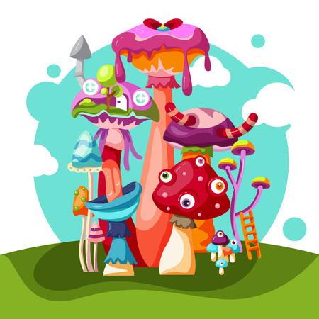 Mushrooms vector illustrations Illustration