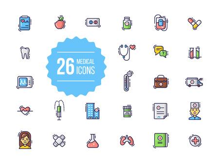 Medical icons set in flat style Illustration