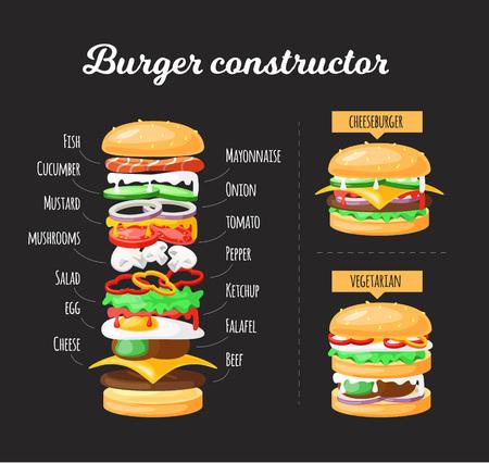 Ilustración de capas de hamburguesas. Infografía hamburguesa Ilustración de vector