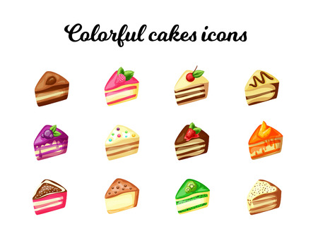 Tasty cake slices Illustration