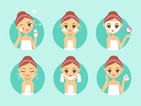 Girl cleaning and care her face. How to clean face illustration