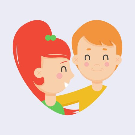 Love couple flat illustration. Man and woman smiling in the shape of a heart. Valentine's day, family relations, wedding label
