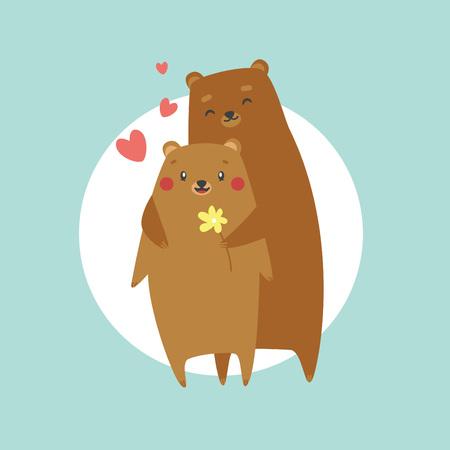 Cute bear in love hugging. Happy Valentine's day postcard. Vector illustration.