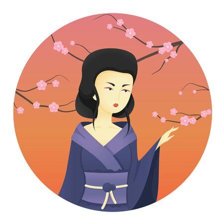 Geisha illustration. Beautiful japanese girl.